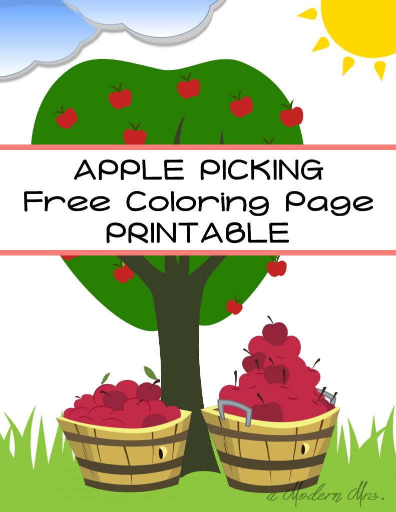 Printable] Apple Picking Coloring Page — a Modern Mrs.