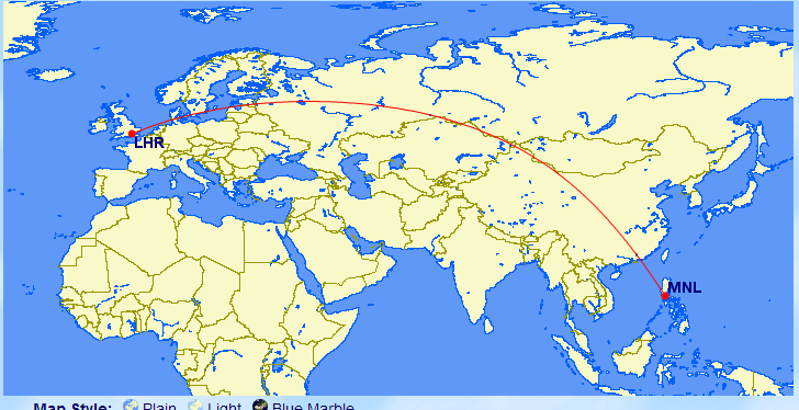 Manila to London via Great circle route