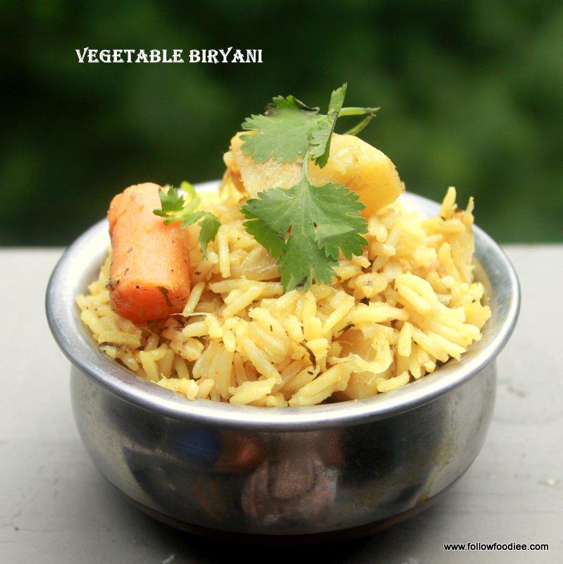 Veg biryani made using pressure Cooker