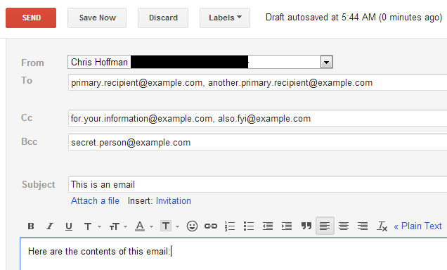 एक साथ अनेक व्यक्तियों को ईमेल भेजे