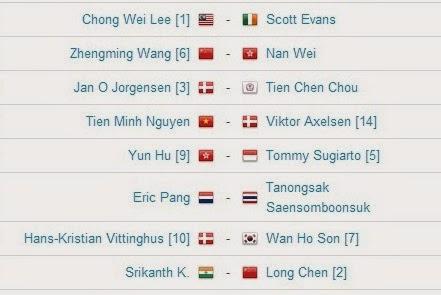 Jadwal Pertandingan BWF World Championships 2014 Hari Ke Empat Tunggal Putra MS