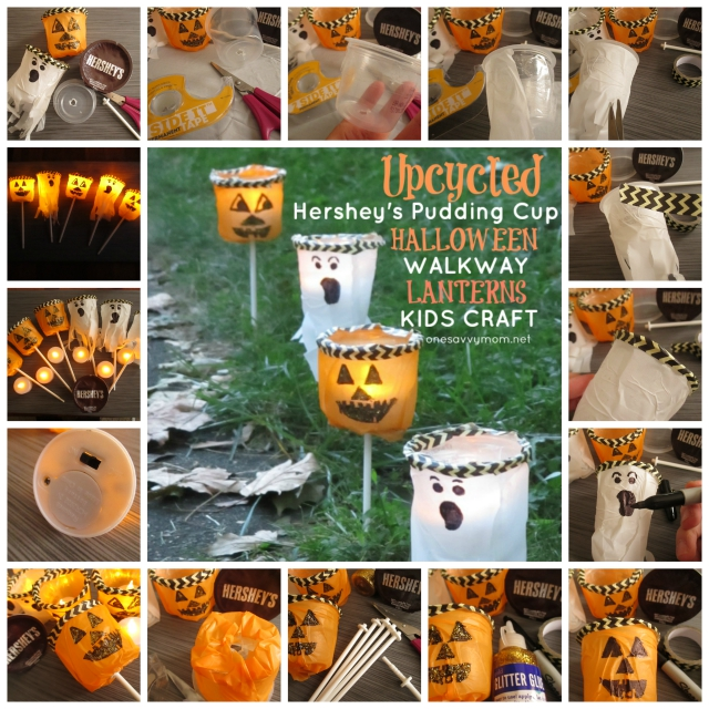 Upcycled Halloween Kids Crafts & Simple DIY Decor - Hershey's Ready To Eat Pudding Cups - How-To Tutorial  One Savvy Mom #ReadySetSnack onesavvymom blog