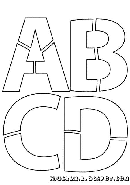 Modelo de letras para cartaz a b c d