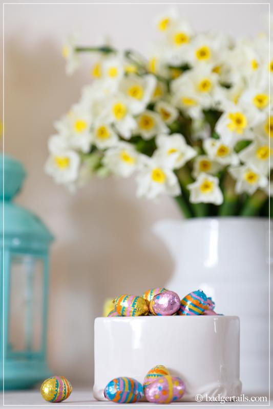 Easter Eggs in White Bowl