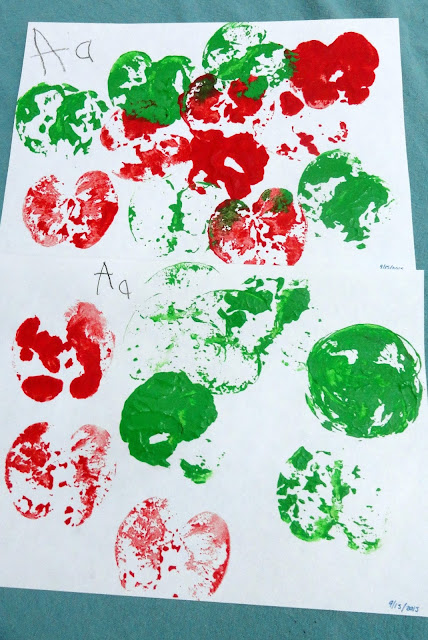 Apple stamping for Preschool