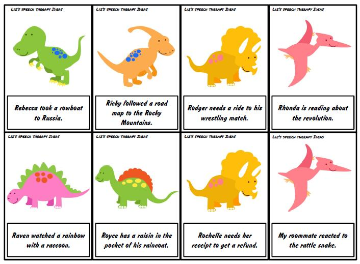 liz 39 s speech therapy ideas dinosaur articulation r silly sentences. Black Bedroom Furniture Sets. Home Design Ideas