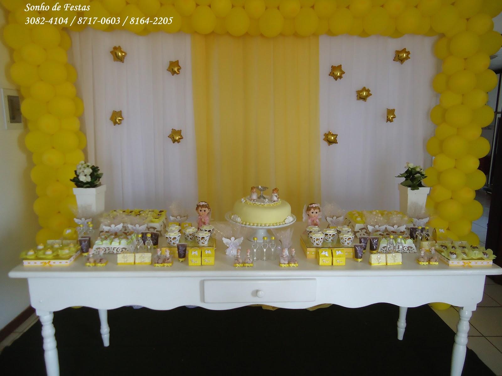 decoracao branco amarelo:Sonho de Festas: Batizado provençal amarelo e branco