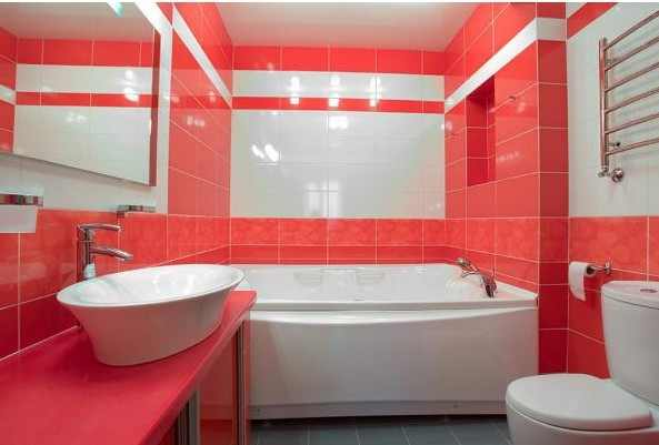 bathroom tiles design, white red bathroom color combinations