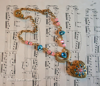 Anna Karenina Aqua and Pink Rhinestone Locket Necklace