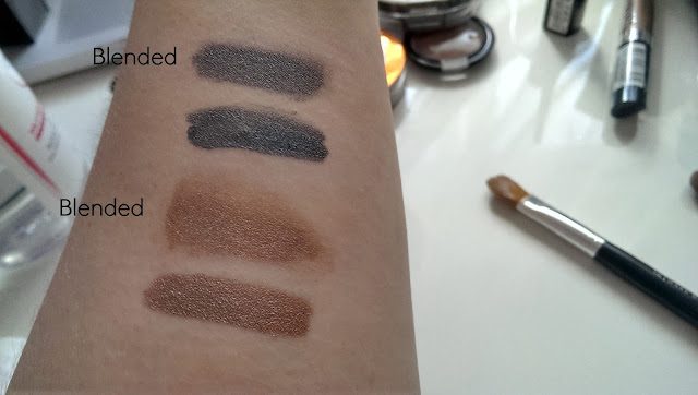 the cream shadows swatched on my arm, blended and from the applicator
