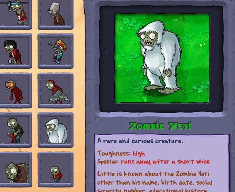 You can see the complete information about the plants and zombies in