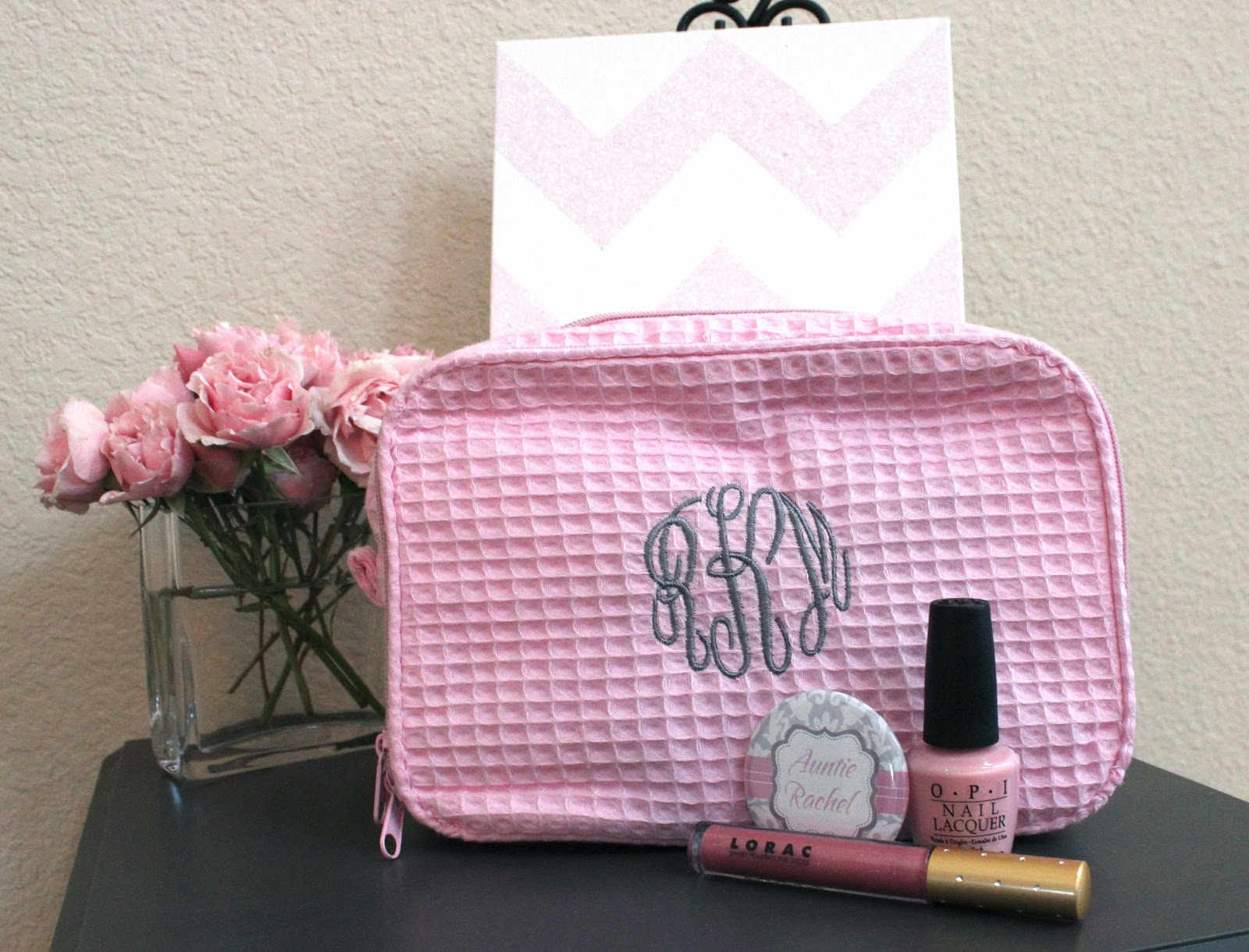 cutest hostess gift ever pink grey monogram cosmetic bag it 39 s a