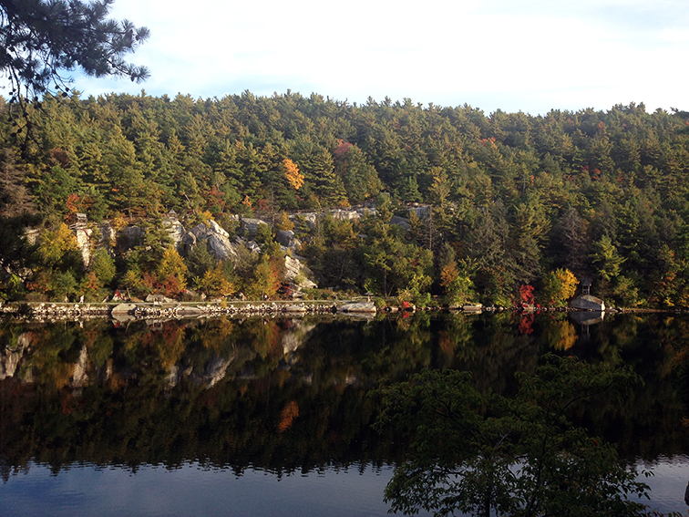 Beautiful Mohonk Lake at Mohonk Mountain House, state preserve, nature, fall colors, fall foliage, refelctions