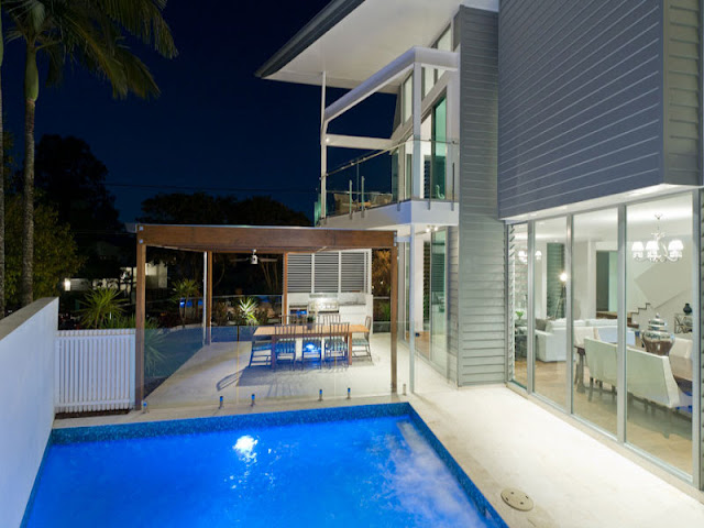 Photo of terrace of modern contemporary home as seen from the pool area, Brisbane, Australia