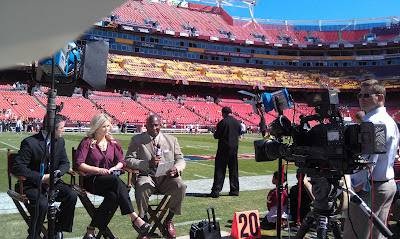 Media covers the Washington Redskins from FedEx Field