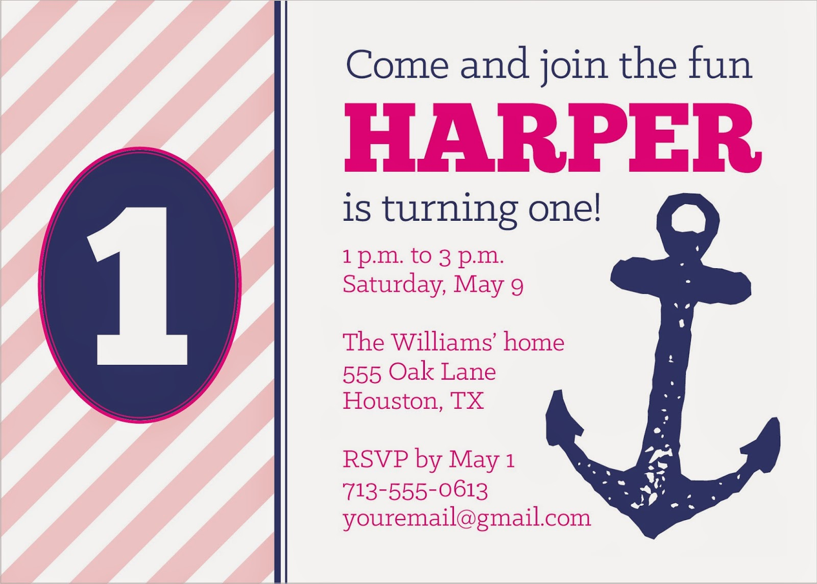 Weddings by Susan Nautical Girls Birthday Party Invitations and