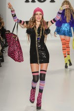 pink leopard, black sequin dress, pink beanie, knee hi socks, new york fashion week