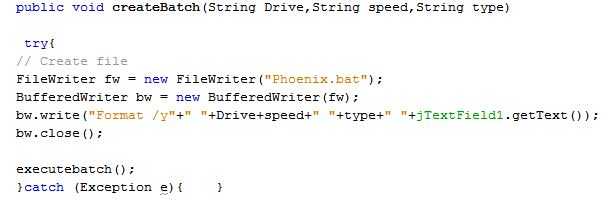Format Drive With Java