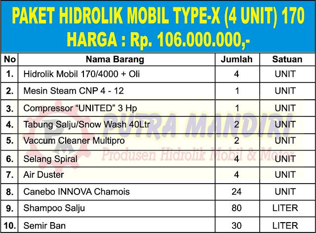 PAKET HIDROLIK MOBIL TYPE-X (4 UNIT) 170