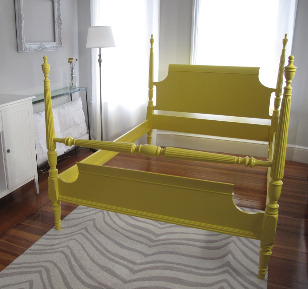 gorgeously crafted solid wood frame with two fresh coats of semi gloss paint measures 82l x 57w x 54h height of the tallest poster - Yellow Bed Frame