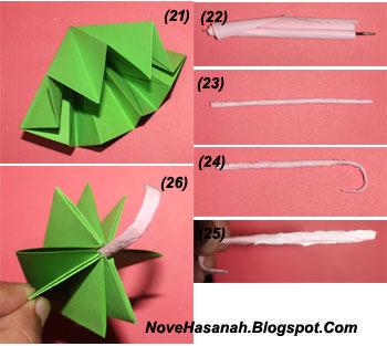 langkah-langkah cara melipat kertas origami untuk anak-anak berbentuk payung yang mudah sekali 19