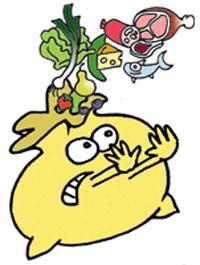 dessin d'une poubelle refusant d'accueillir des aliments, gaspillage alimentaire