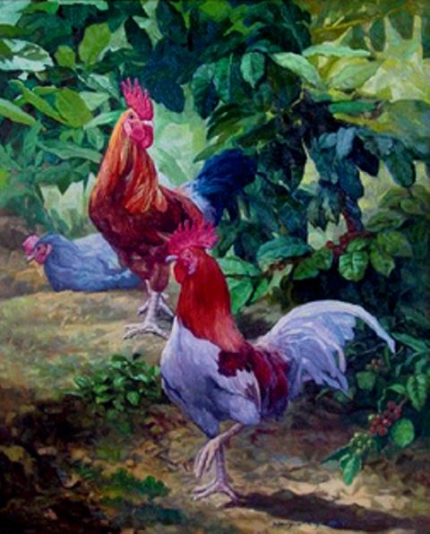 Im  genes Arte Pinturas  GALLOS    LEO SOBRE LIENZO  MAURICIO RIZO
