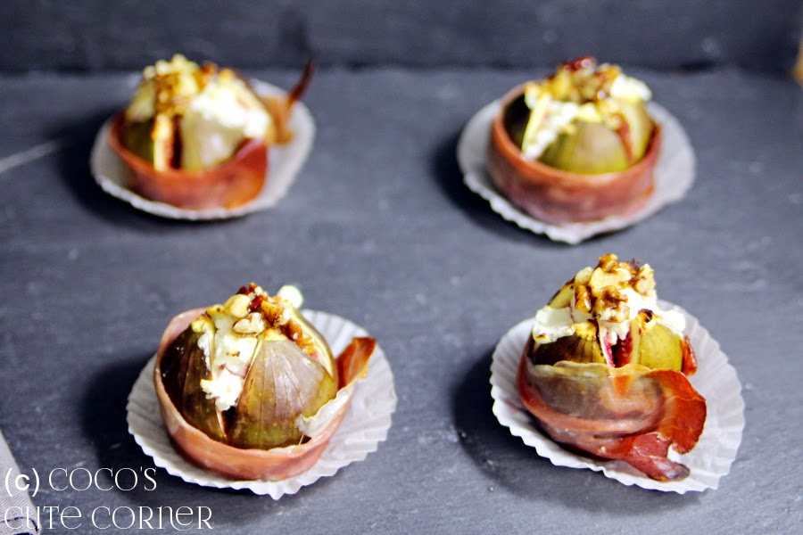 Baked Figs with Goat Cheese and Ham