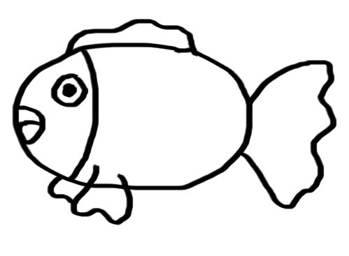 How to draw funny cartoon animal easy way drawing chubby fish for Cartoon fish drawing
