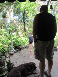 Erik and Willow watch from the deck as Coach and Fred look into the Koi pond. Coach is leaning over the pond.