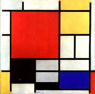 Mondrian composizione con piano rosso grande, giallo, nero, grigio e blu