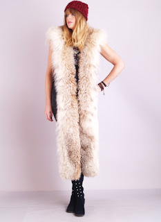 Vintage 1950's long brown spotted lynx fur stole
