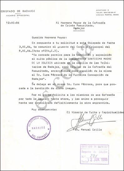 Permiso del Obispado ( 12/06/86 )