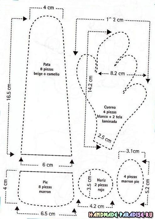 Выкройки рождественских оленей (7)