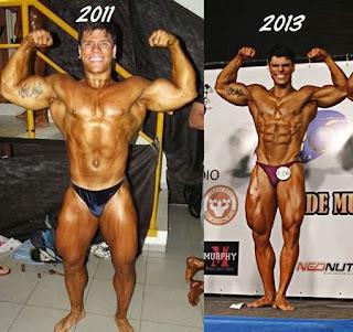 Evolução física de Gustavo Almeida entre 2011 e 2013