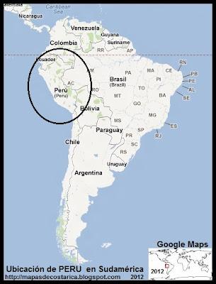 Ubicación de PERU en Sudamérica, Google Maps