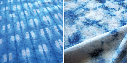 Indigo dye shibori techniques tie-dye folding and clamping
