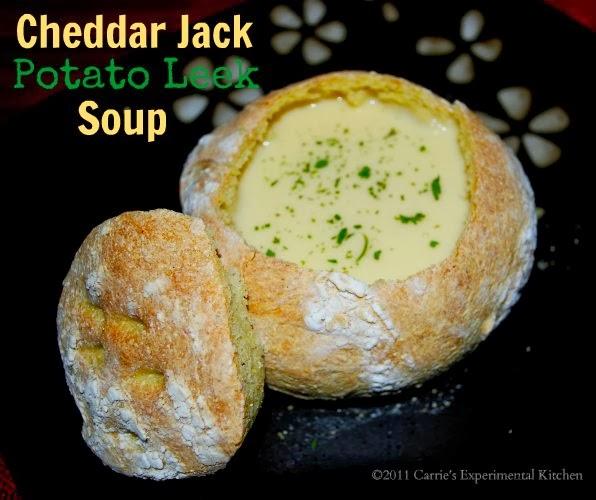 Carrie's Experimental Kitchen: Cheddar Jack Potato Leek Soup