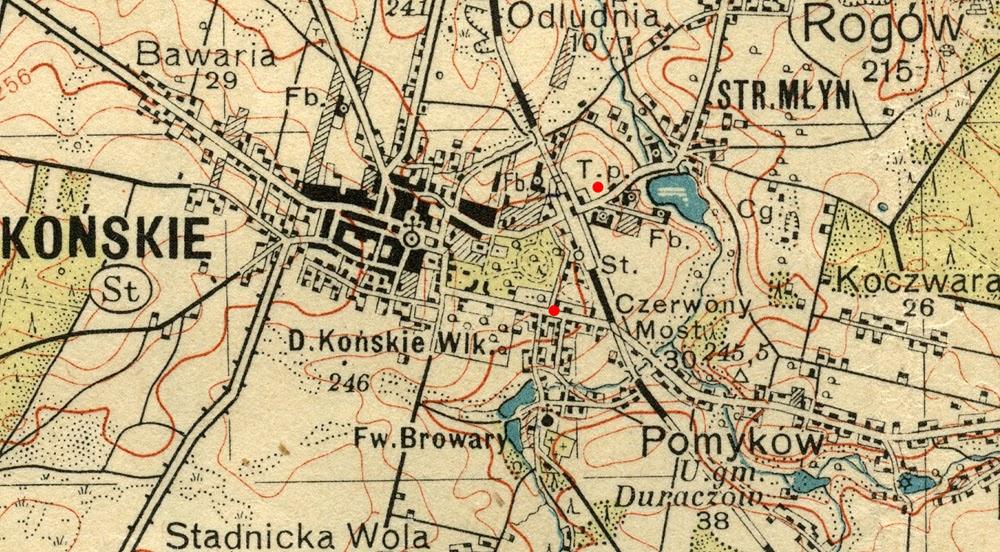 Końskie, mapa WIG, Warszawa 1938. Skrót T.p. oznacza usytuowanie tartaku parowego - prawdopodobnego miejsca stracenia powstańców. Mapa w zbiorach KW.