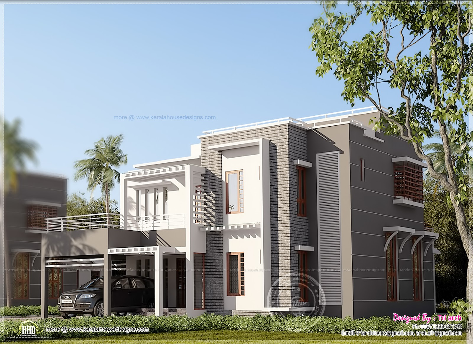 Contemporary home design in kerala home kerala plans for Kerala contemporary home designs
