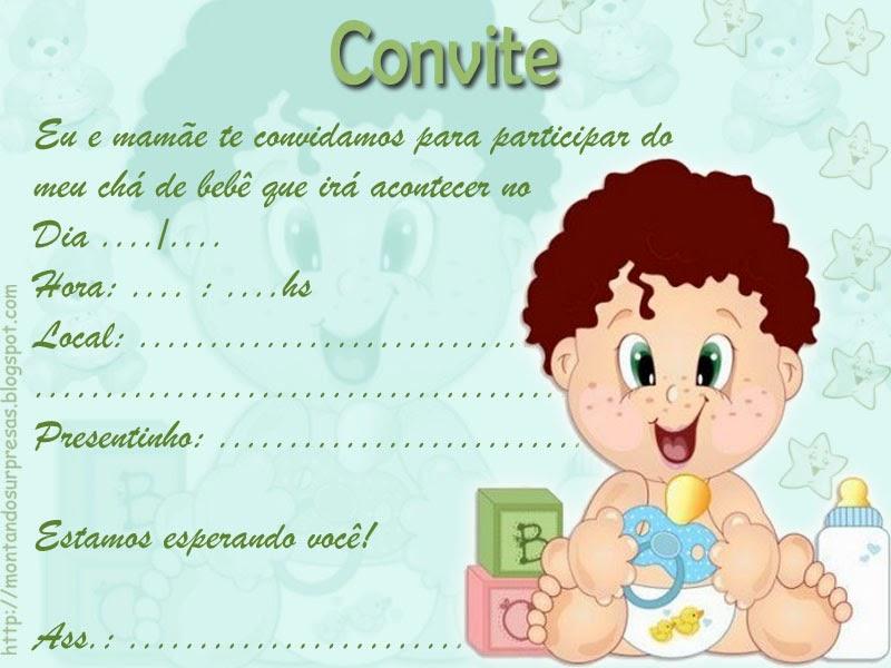 Convite para chá de bebê para imprimir 2