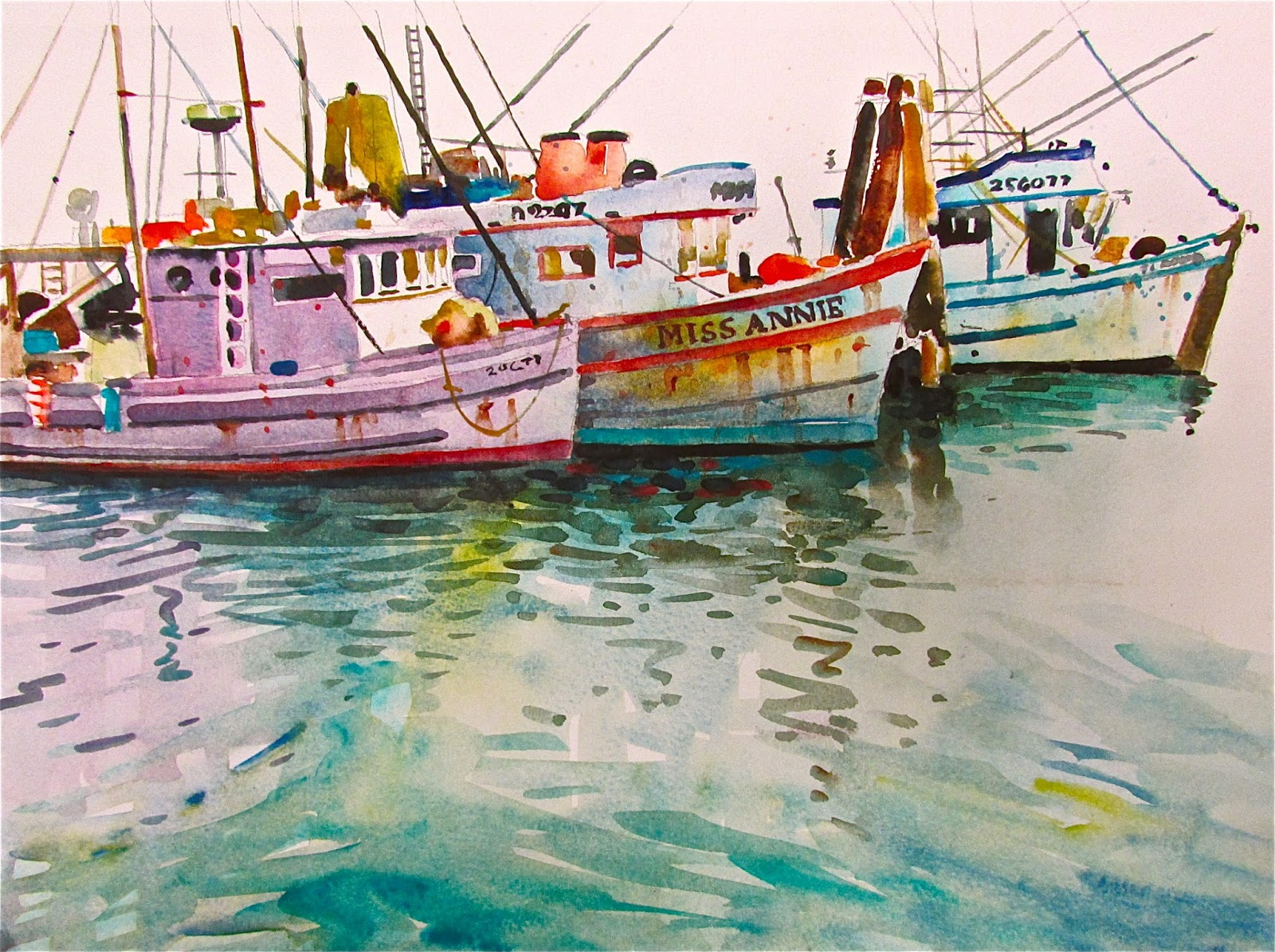 David lobenberg map out your watercolor plan of attack for Fishing boat painting