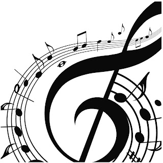 musical notes swirling around a treble clef