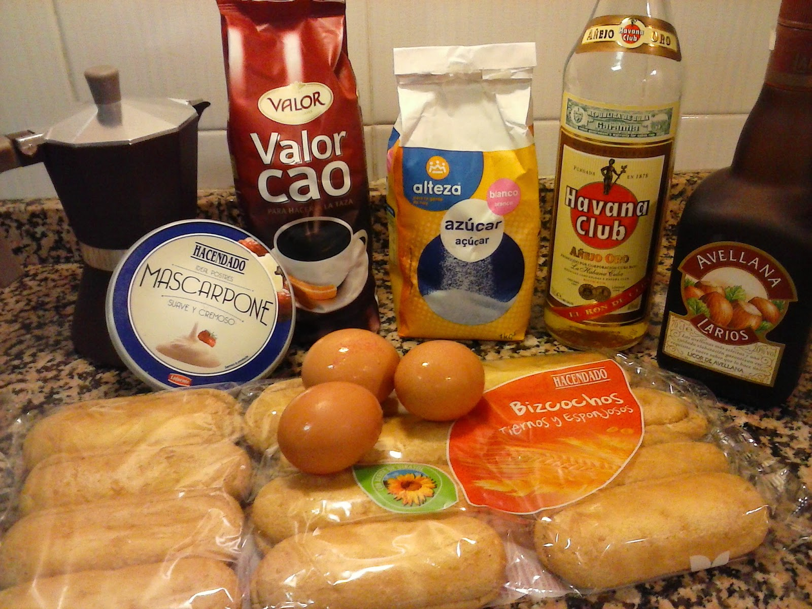 Ingredientes tiramisu