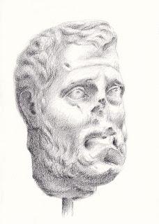 Black chalk Roman bust