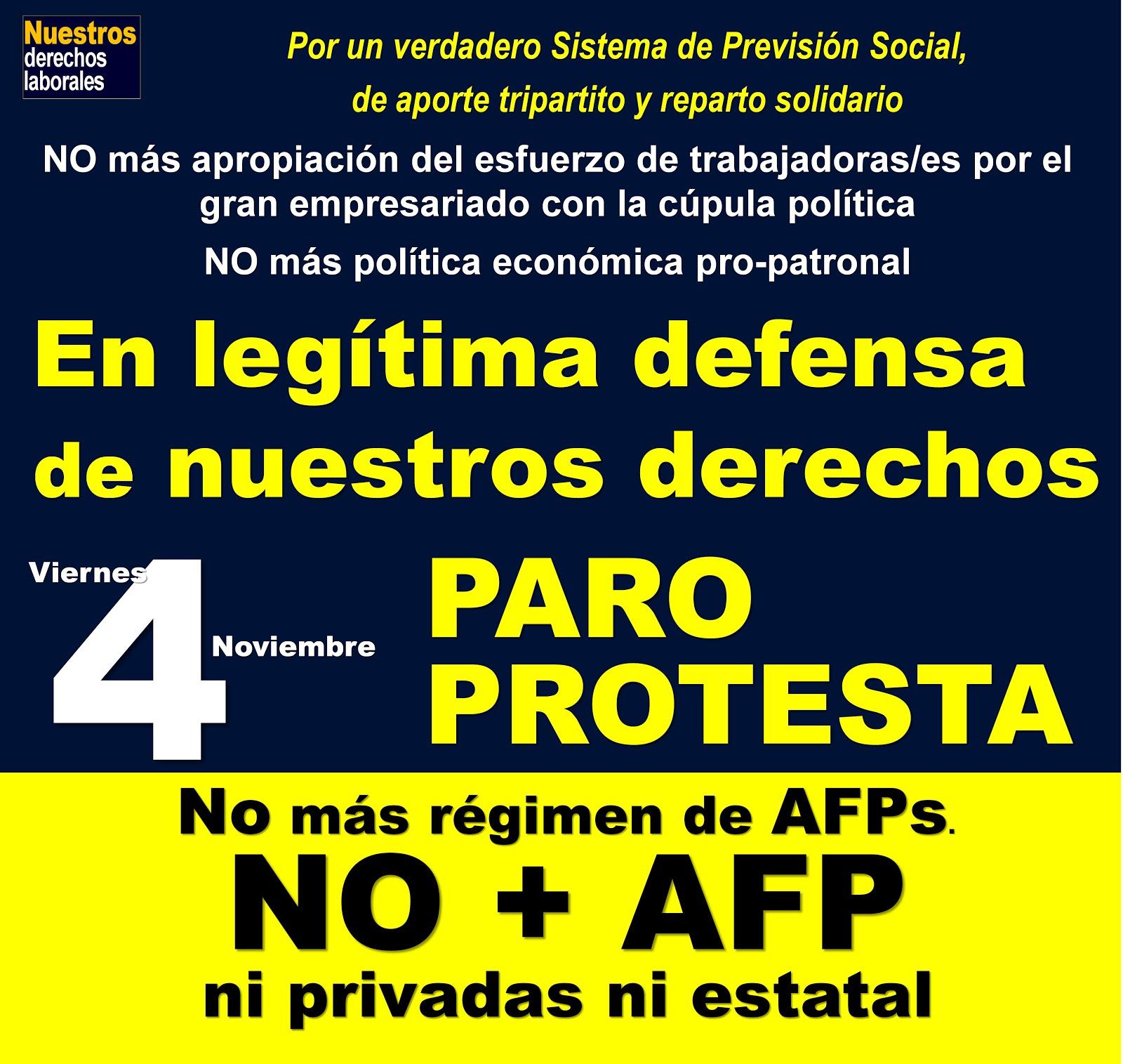 En legítima defensa de derechos esenciales. Paro-Protesta viernes 4 de noviembre.