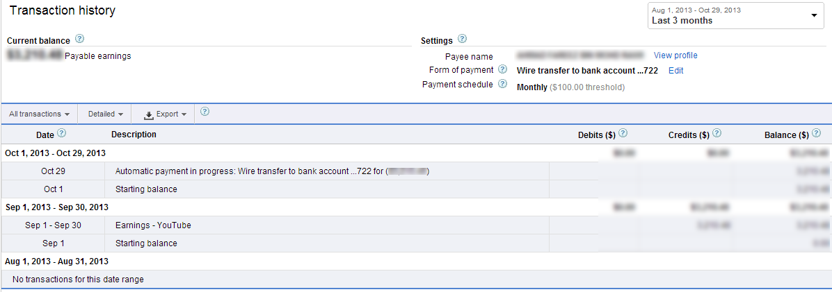 AdSense Payment via Wire Transfer