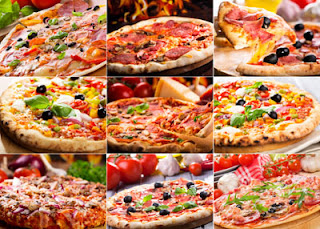 collage con 9 fotos de pizzas descarga gratis