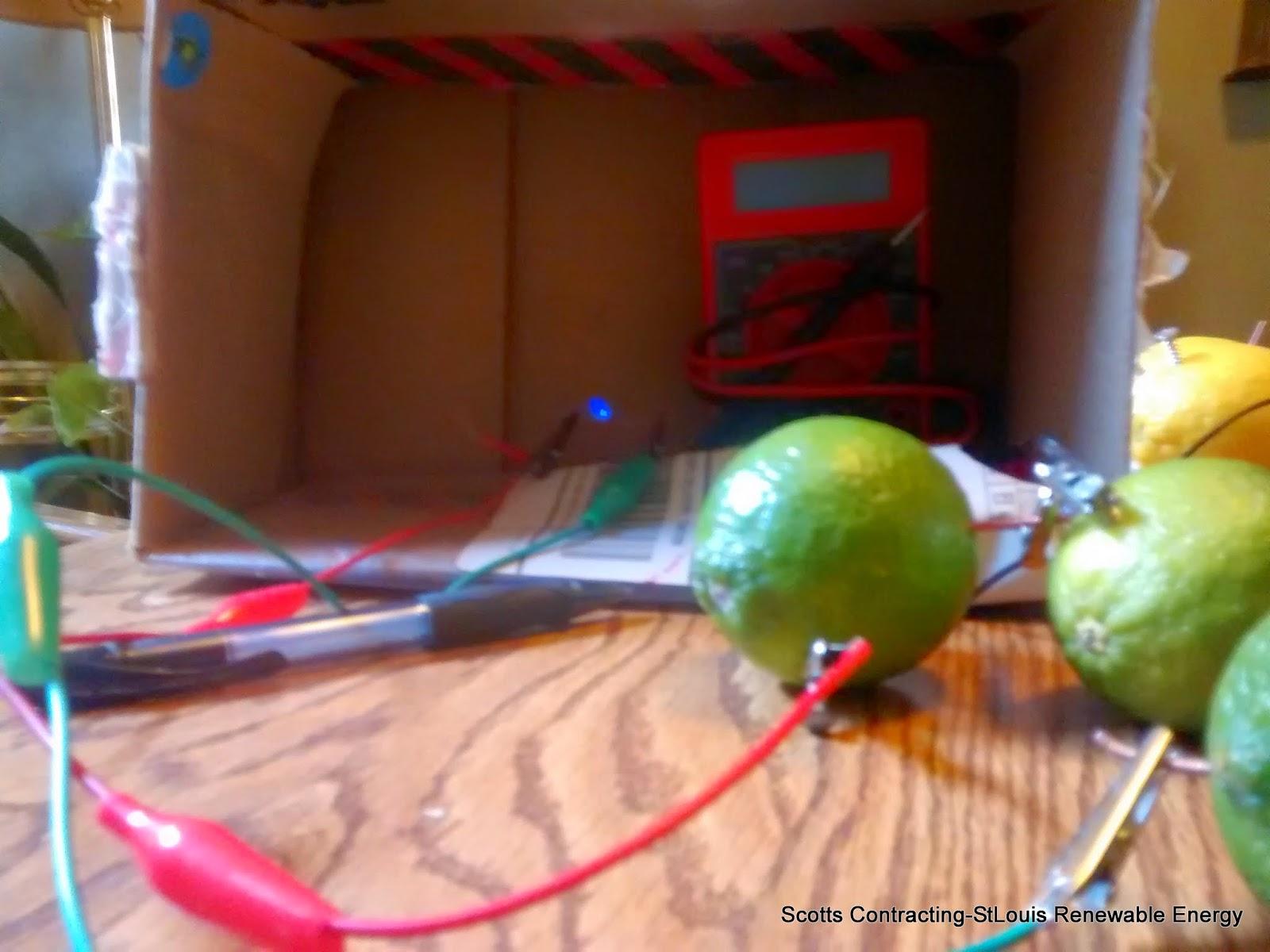 Fruit Battery Power Blue LED Light