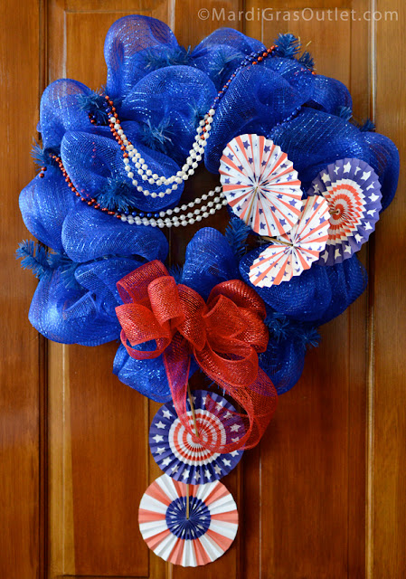 Deco Mesh, Patriotic, Red White Blue, Memorial Day Wreath, Wreath, How to, American Flag, Tutorial